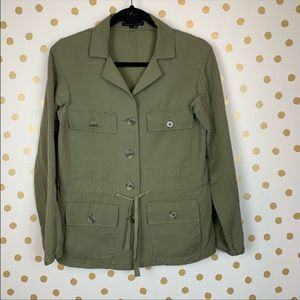 Theory Kandrina Galley Army Green Linen Jacket XS